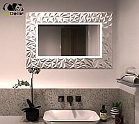 Зеркало прямоугольное с LED подсветкой в серебряной раме Verona