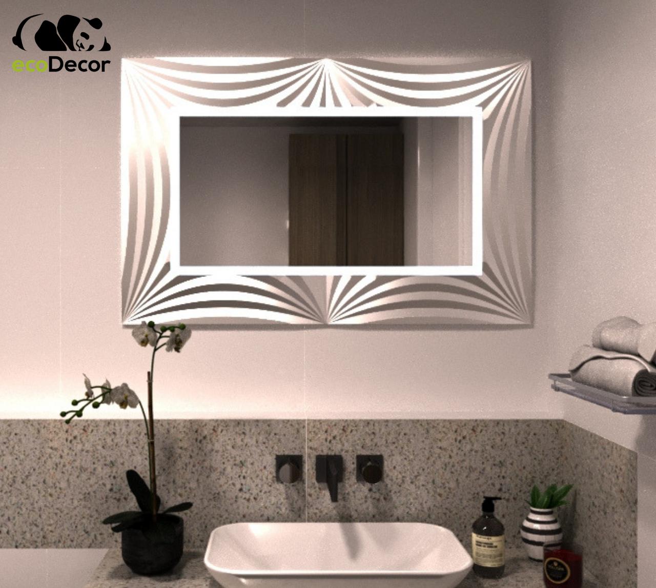 Зеркало прямоугольное с LED подсветкой в серебряной раме Amaro