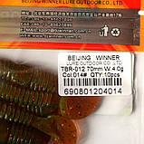 Силиконовая приманка съедобная Червяк (Tube Worm), TBR-012, цвет 014, 10шт., фото 3
