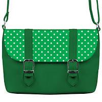 Сумка-портфель Горошек зеленая
