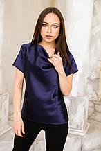 Блуза атласная синяя
