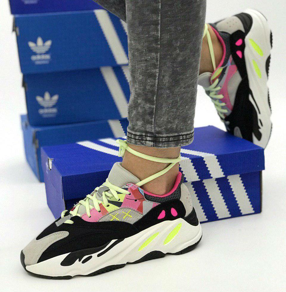 save off 9311f faef4 KAWS x Adidas Yeezy Boost 700 Wave Runners Grey/Black-Yellow-Pink |  кроссовки женские; цветные