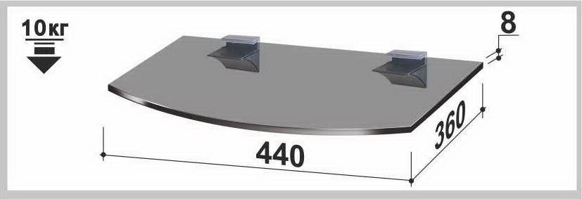 Полка стеклянная Gamma PL5R (360x440x8) (радиусная прозрачная, графит, бронза)