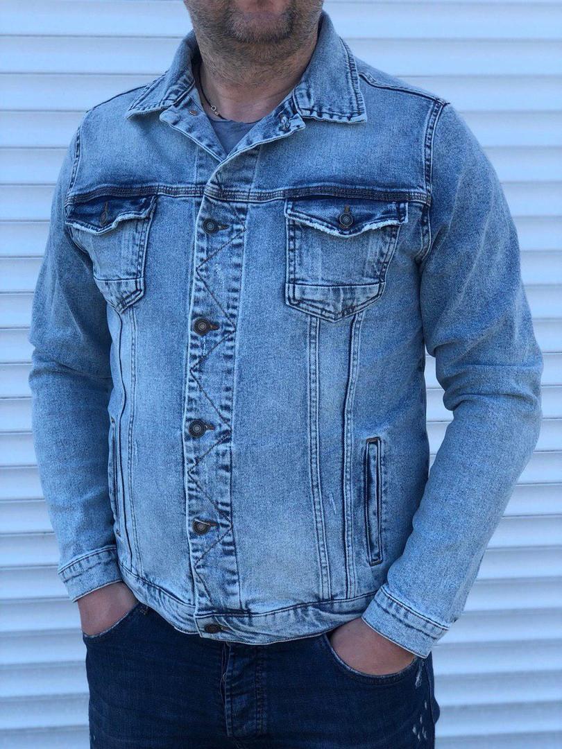 Мужской джинсовый пиджак (синий)