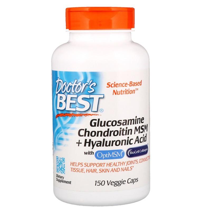 Глюкозамин, Хондроитин, Гиалуроновая кислота и МСМ, Doctor's Best, 150 капсул