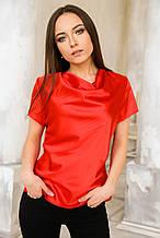 Блуза атласная красная