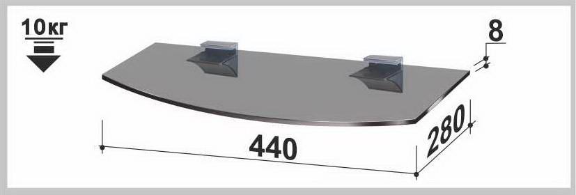 Полка стеклянная Gamma PL4 R (280х440х8) (радиусная прозрачная, графит, бронза)