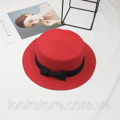 Женская летняя шляпа канотье с бантиком красная