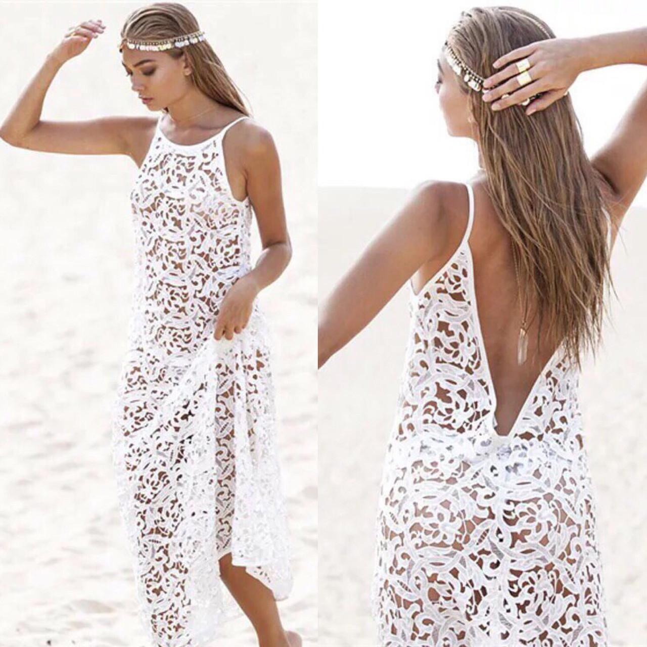 Пляжне плаття ажурна туніка