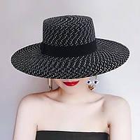 Женская летняя шляпа канотье черно-белая