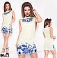 Короткое модное платье с цветочным принтом (бежевый) 829645 , фото 2
