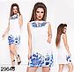Короткое модное платье с цветочным принтом (бежевый) 829645 , фото 3