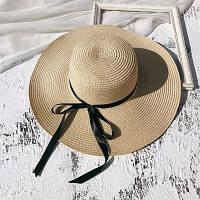 Шляпа женская летняя с широкими полями и лентой бежевая