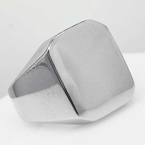 Кольцо-печатка из медицинской стали мужское Классика глянцевое 18 мм 165054