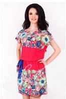 Платье с пояском коралл купон, платье яркое штапель, платье летнее молодежное миди