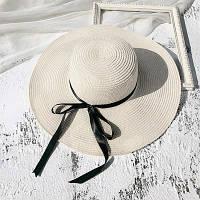 Шляпа женская летняя с широкими полями и лентой молочная