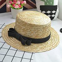 Летняя женская соломенная шляпа канотье с небольшими полями и бантом черным