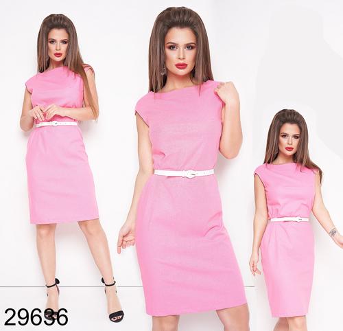 Модное женское льняное платье с поясом (малина) 829636