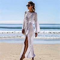 Трикотажное пляжное платье туника длинное. Код 26