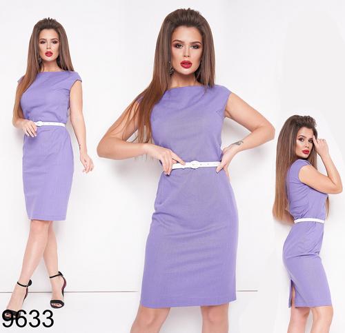 Приталенное женское платье с коротким рукавом (фиалка) 829633