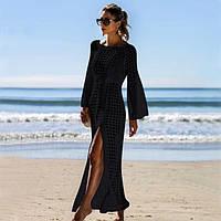 Трикотажное пляжное платье туника длинное черное. Код 27