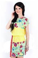 Платье с пояском желтое купон, платье яркое штапель, платье летнее молодежное миди