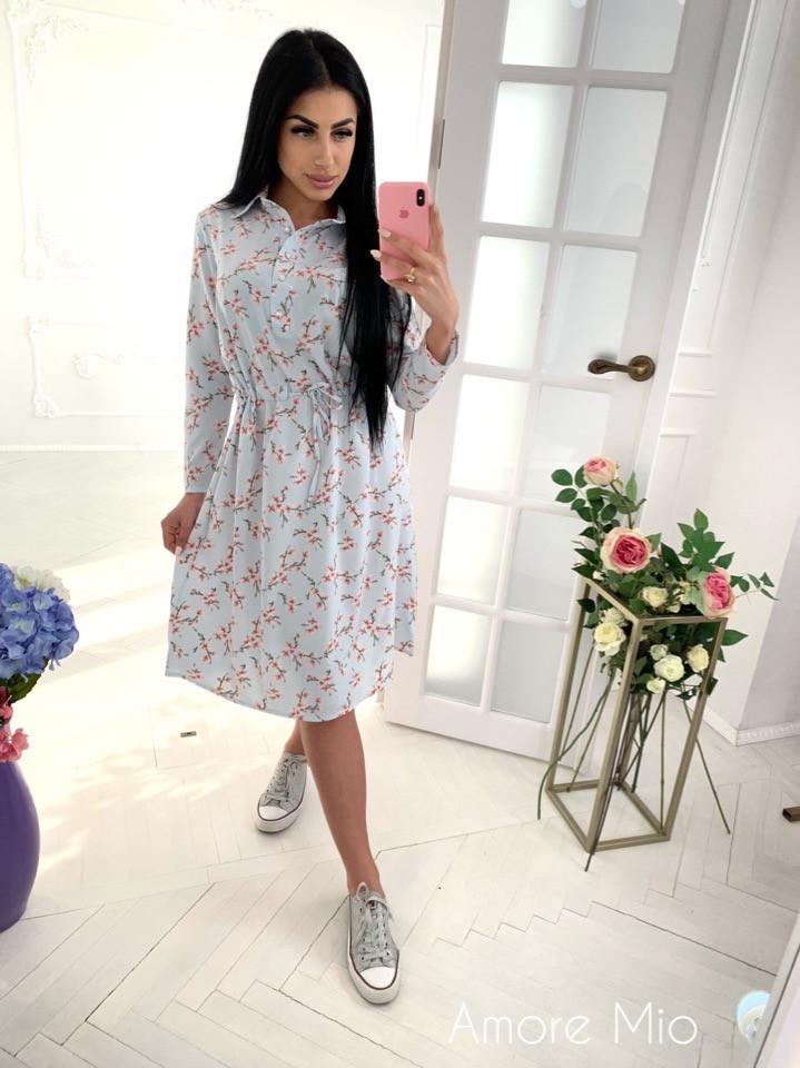 Платье с цветочным принтом, ткань: софт(хлопок с вискозой). Размер:  С(42-44)М(44-46). Разные цвета (6336)