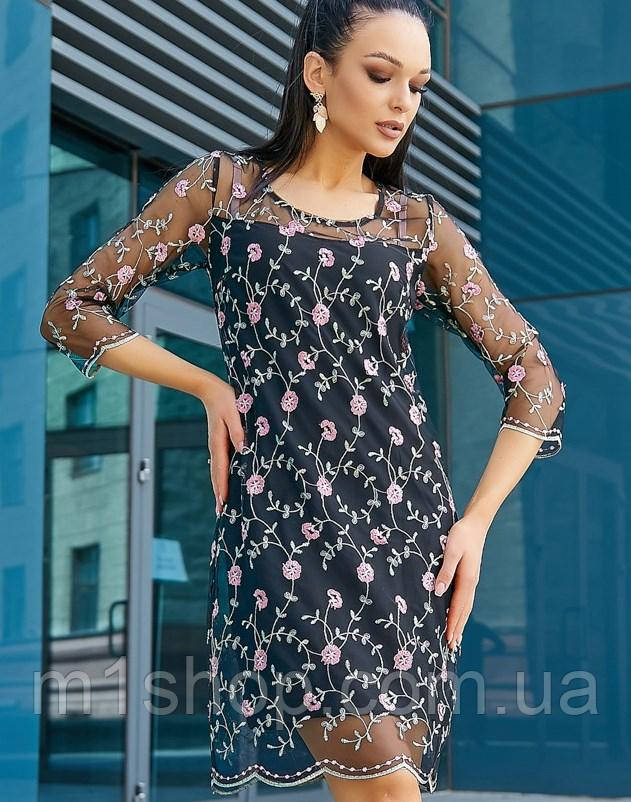 Женское двойное платье с сеткой сверху (2677-2676-3546 svt)
