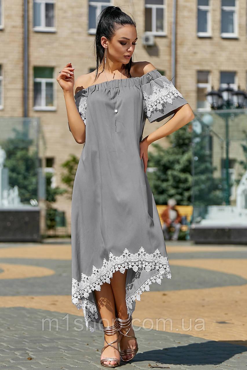 Женское асимметричное платье с кружевом по низу (3534-3533-3532 svt)