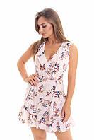 Женское летнее  платье с запахом и воланами