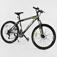 Спортивный велосипед черный с желтым CORSO SPIRIT 26 дюймов 21 скорость металлическая рама 17дюймов