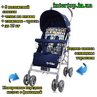 Детская коляска-трость Babycare Rider синий цвет ткань лен. Дитячий візок тростинка синій