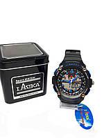 Часы K-Sport электронные + кварцевые в железной подарочной коробке. Синий