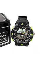 Часы K-Sport электронные + кварцевые в железной подарочной коробке. зеленый