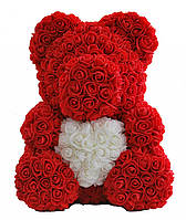 Мишка из 3D роз высотой 40см Красный