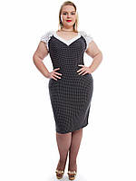 Платье женское в горошек с коротким рукавом размеры 48-62  137