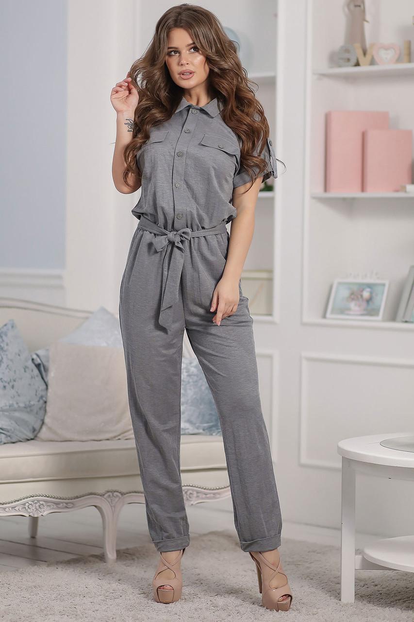 Летний серый Комбинезон с брюками
