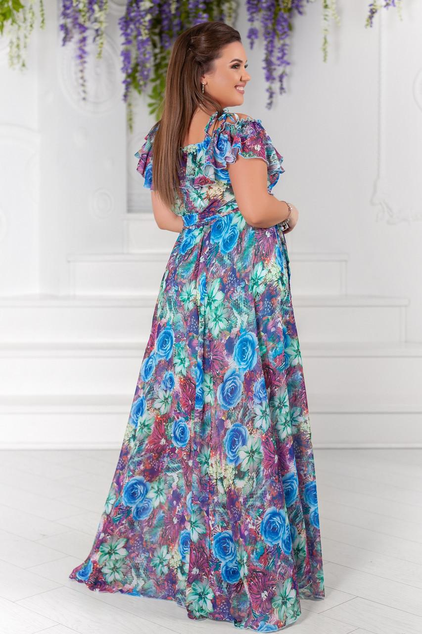 7d9cb7b0563fb56 Летнее платье из шифона большого размера - Интернет-магазин