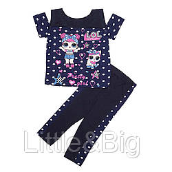 Комплект для девочки, футболки и лосины, синий. Кукла Лол.
