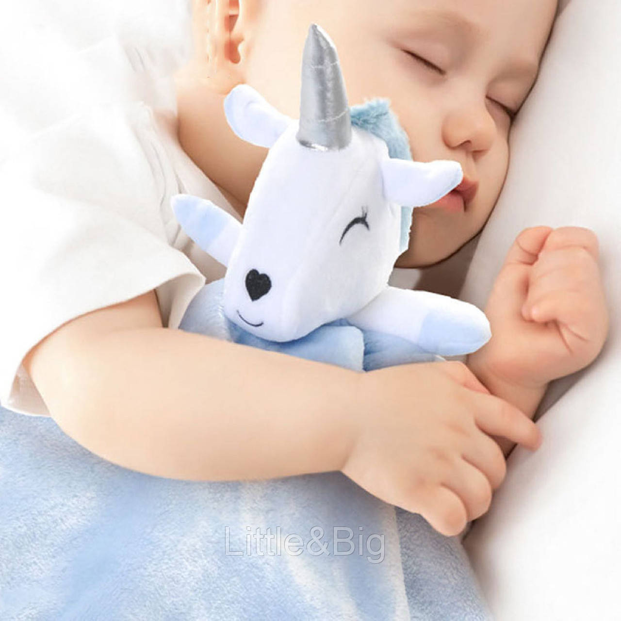 Плед детский, голубой с игрушкой. Unicorn