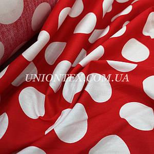 Ткань хлопок летний принт крупный белый горох на красном