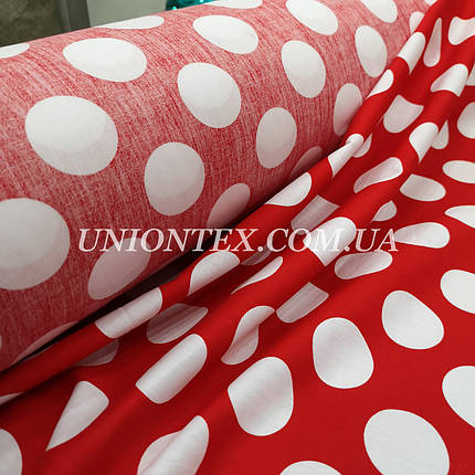 Ткань хлопок летний принт крупный белый горох на красном, фото 2
