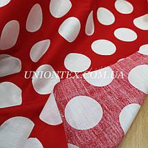Ткань хлопок летний принт крупный белый горох на красном, фото 3