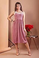 Платье женское длинное из трикотажа на брителях с кружевом (К27662)