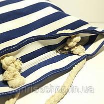 Пляжная сумка текстильная синяя полоса опт, фото 2