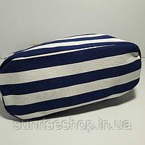 Пляжная сумка текстильная синяя полоса опт, фото 3
