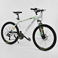 Спортивный велосипед белый с зеленым CORSO GTR-300 26 дюймов 21 скорость алюминиевая рама 17дюймов