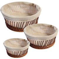 Корзины для хлеба с тканью круг 3пр/наб 28см R85137