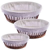 Корзины для хлеба с тканью овал 3пр/наб 30*75см R85138