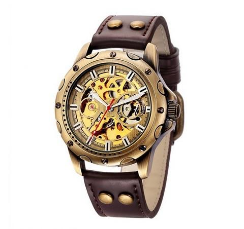 Мужские часы Механические с автоподзаводом, водонепроницаемые Skeleton Mechanical Watch.
